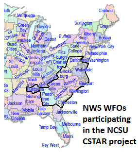 Map of NWS WFOs participating in the current NCSU CSTAR project