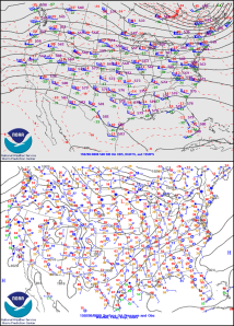 Figure 1. 500mb (top) and surface (bottom) analysis for 00Z 8 February, 2015.